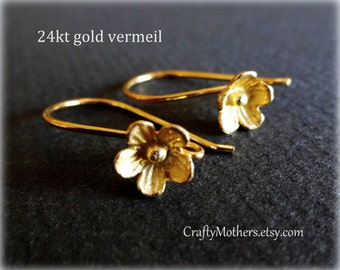 Bali 24kt Gold Vermeil Large Flower Ear Wires, 25mm x 15mm, artisan-made supplies - SELECT a quantity