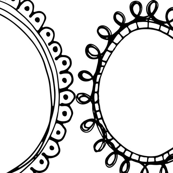 Simple Quirky Doodle Frame Clipart Oval U Round Label Printable Logo Clip Art For Design Circle Borders Brushes Png Digital Stamp With