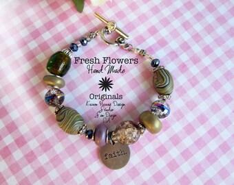 Faith charm bracelet handmade beaded toggle polymer glass metal beaded bracelet handmade metal message charm with toggle clasp beads silver