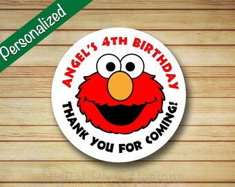 40 PRINTED Elmo Birthday Party Labels Sesame Street Rounded Stickers Personalized Elmo & Abby circle labels Cupcake Toppers Favor Bag Label
