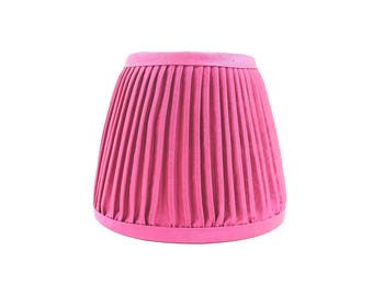 Fuchsia pink silk hand pleated mini lampshade sconce chandelier gathered handmade lamp shade home decor
