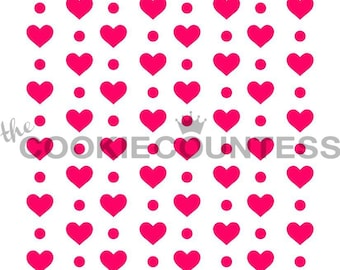 Fast Shipping!!! Hearts and Dots Stencil, Heart Cookie Stencil, Valentines Cookie Stencil, Love Stencil, Heart Cookie Stencils, Love Cookies