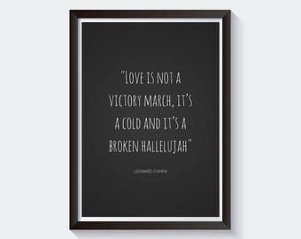Leonard Cohen Print | Leonard Cohen Poster | Leonard Cohen Quote | Hallelujah Quotes | Hallelujah Print | Lyrics | Song Lyrics