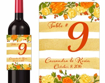 Autumn Wedding Wine Labels Table Numbers Orange Yellow Gold Fall Roses and Berries Custom Designer Labels Waterproof Vinyl 3.5 x 5 inch