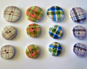 12 Mixed Coloured Plaid Buttons - #WS-00086