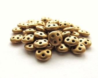 Matte Metallic Golden Flax CzechMates QuadraLentil, 6mm - 50 pieces