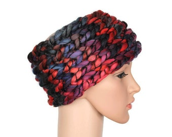 Red Knit Ear Warmer Boho Headband Knitted Head Band Warm Headband Knit Red and Gray Gift for Women Womens Gift Winter