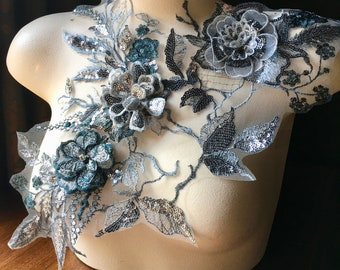 Silver & Teal 3D Applique , Beaded and Embroidered for Lyrical Dance, Ballet, Couture Gowns F26-1