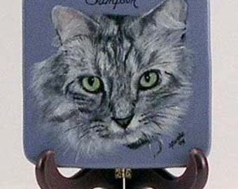 Pet portrait, pet portrait on display disk, pet memorial painting, small disk with pet portrait, easel with pet portrait, cat memorial