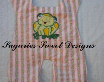 Girls Coverall Frog Bib in 6 Month Size