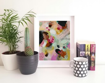 Dreaming of Spring. Abstract Painting. Small Abstract Art. Modern Art. Contemporary Art. Pink, Black, Green Painting. Original Wall Art.