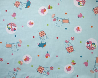 Fabric blue pink red orange fun birds animals Cotton Fabric Kids Fabric Scandinavian Design Scandinavian Textile