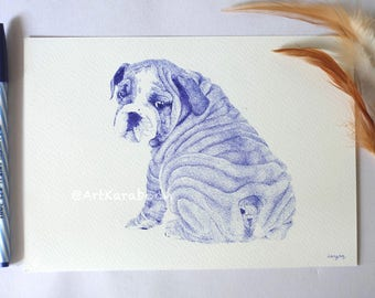 Sitting Bulldog | Original Pointillism Drawing | Blue Ballpoint Pen on A5 Paper