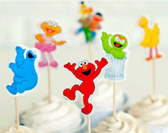 24 pcs Elmo and Friends Cupcake toppers/Birthday Decorations/Cake Decorations