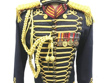 """Steampunk Men's 5pcs Military style Gold cord Hussar jacket with Military cap and goggles, medals and Aiguillette in 3 chest sizes 42"""",44"""",4"""