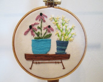 Petite Fiber Art 2 Potted Plants with Blooms