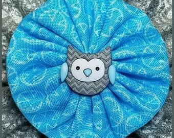 Yo-Yo Owl Hair Bow / Flower / Clip / Yo Yo Fabric & Button /