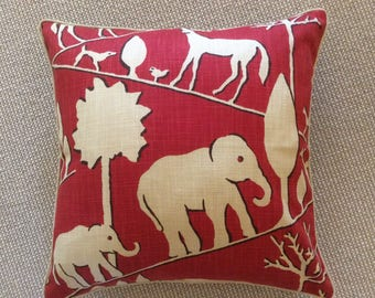 Jungle walk in cardinal-Pillow cover