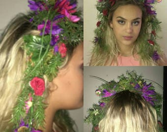 Upcycled couture plastic floral crown