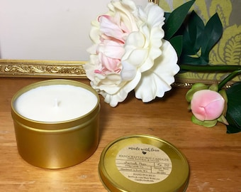 3x Natural Soy Wax Candle in Gold 230g Tins