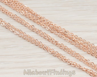 CHN001-RG // Glossy Rose Gold Plated Small Cable Chain, 1 Meter.