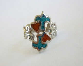 Turquoise Coral Inlay Ring, Heart Bird Ring, Size 6.5