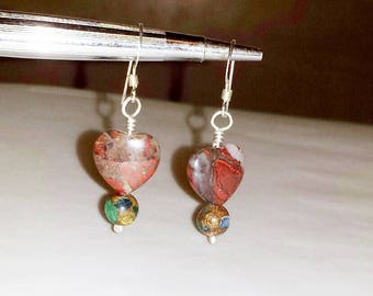 Earrings Sterling Silver and Jasper Hearts