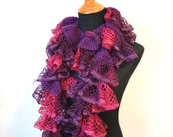 Purple Pink Ruffle Scarf, Purple Crochet Scarf, Long Purple Scarf, Purple Pink Scarf