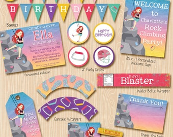 Rock Climbing party invitation and party decorations. Invitation included. Red Hair climber.