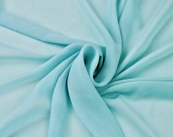 Danielle AQUA BLUE Polyester Hi-Multi Chiffon Fabric by the Yard - 10075