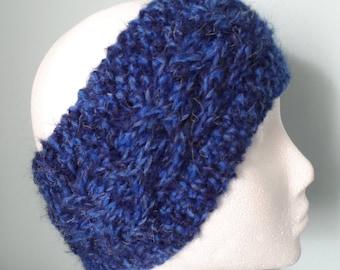 Hand knitted Navy & Royal Blue Mohair Earwarmer or Headband