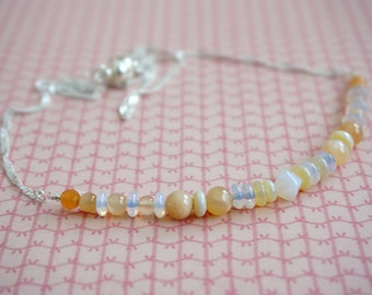 Orange Aventurine Peach Moonstone Opalite Australian Opal necklace - wire wrapped gemstone Designer artisan - Minimalist bar Classic