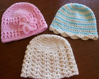 crochet baby hats, newborn to 3 months, little girl spring and summer caps, baby shower present, gift for new mom, baby beanie accessories
