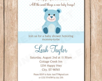 Boy Bear Baby Shower Invitation - 1.00 each printed