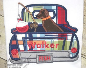 Dog Fishing Truck - Plain Fishing Truck  - Iron On or Sew On Embroidered Custom Made Applique  Ships FAST 3-7 Business Days