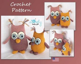 Crochet Pattern, Amigurumi Owl, Crochet Amigurumi Pattern, Two Owls Pdf Pattern, CP-125
