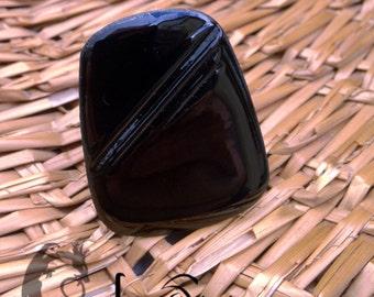 Hommage à Soulages : Bague en cuivre émaillé, noir lumineux