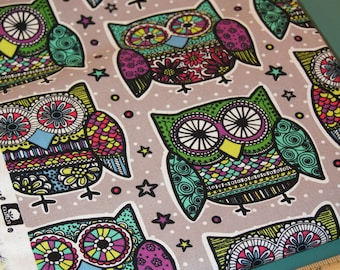 1/2 Yard Novelty Cotton Fabric Multi Colored Owls