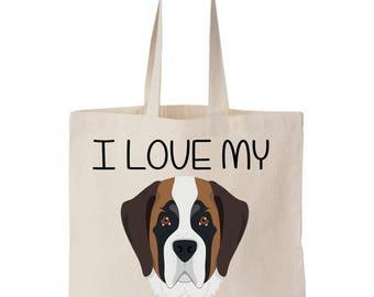 I Love My St.Bernard Canvas Tote Bag
