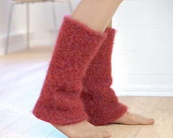 Boiled wool leg warmers Bordeaux Maroon - knit felted leg warmers natural wool - Winter gift