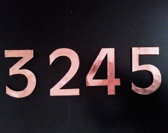 "Large architectural 9""/230mm high floating numbers with copper face, polished and laquered g"