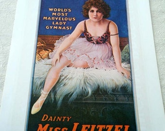 Vintage Dainty Miss Leitzel Aerialist  / Ringling Bros and Barnum and Bailey Circus Print Horses Poster Size Book Plate