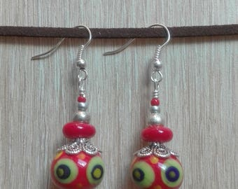 Earrings red and green glass beads