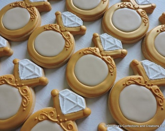 Engagement or Diamond Ring decorated sugar cookies (2533)
