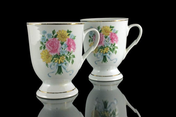Floral Footed Coffee Mugs Set of 2