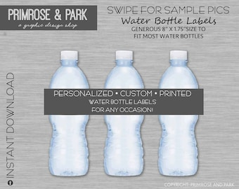 Personalized Water Bottle Labels Printed • Baby Shower • Birthday • Water Bottle Labels • Water Bottle Stickers • Printable Download