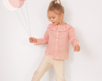Ruffle collar BLOUSE pattern - girls long sleeve shirt patterns pdf - sizes from 2T to 7 years