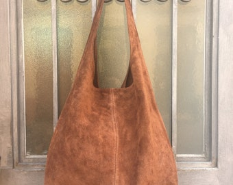 Large TOTE leather bag in  BROWN. Genuine leather bag. Boho bag. Laptop bags in suede. Large suede leather bag. Chocolate BROWN suede bag.