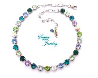 Swarovski Crystal Necklace, Bracelet, Earrings, 8mm Cool Tones, Blue, Purple, Green, AB, Designer Inspired, WINTER FROST, Free Shipping