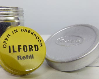 2 x Cute Vintage Metal Film Canisters - Ilford Photographic & Kodak